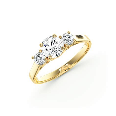 exquisite three engagement ring in k yellow