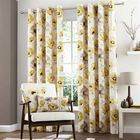 curtains in dunelm yellow painterley poppy eyelet curtain collection dunelm