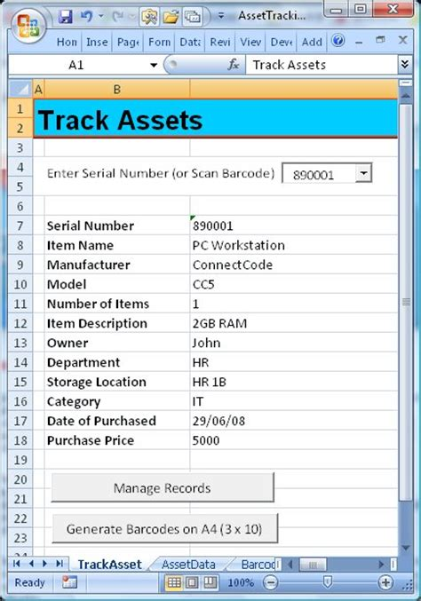 connectcode asset tracking spreadsheet information free