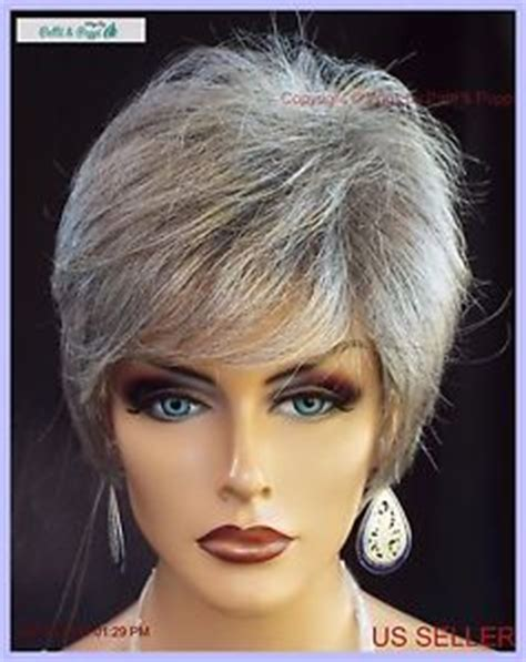 salt and pepper pixie cut human hair wigs synthetic short hair wig for women color grey 51 salt