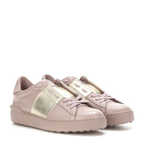metallic sneakers lyst valentino open metallic leather sneakers in