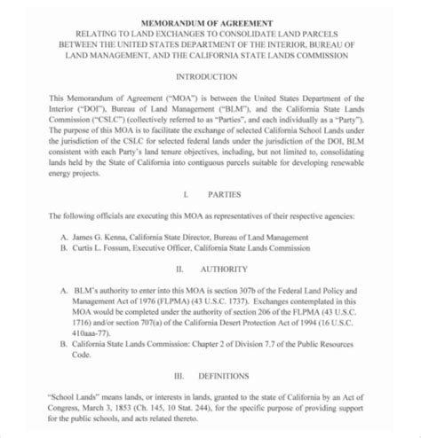 template of memorandum of agreement 13 memorandum of agreement templates pdf doc free