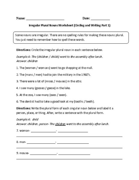 Irregular Plural Nouns Worksheet by Nouns Worksheets Irregular Nouns Worksheets