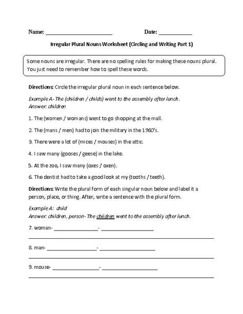 Irregular Plurals Worksheet by Nouns Worksheets Irregular Nouns Worksheets