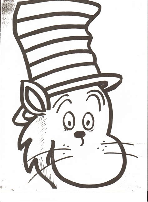 dr seuss hat printable cat in the hat head coloring page
