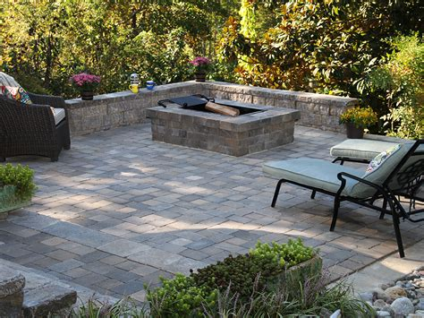 Square Fire Pit Newline English Cobble Pavers Yorkshire Paver Patios With Pit