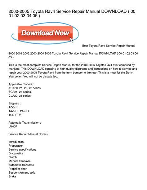 service repair manual free download 2004 toyota matrix parking system calam 233 o 2000 2005 toyota rav4 service repair manual download