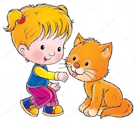 imagenes en jpg chica en cuclillas para acariciar un gato foto de stock