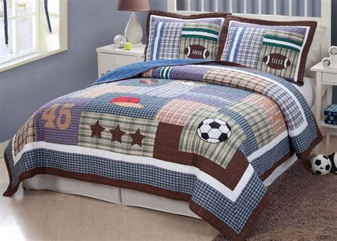 All State 3pc Quilt Bed Set Boys Sports Football Comforter Ebay Sports Football Field Soccer Boys Blue Quilt Bedding Set Ebay