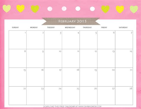 February 2015 Printable Calendar Designs You Ll Free Printable February 2015 Calendar