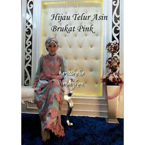 Dress Brukat Hijau mishelle hijau tlr asin baju muslim gamis modern