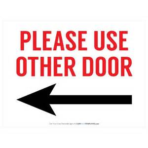 Use Other Door Sign by Use Other Door Free Printable Sign Free Printable