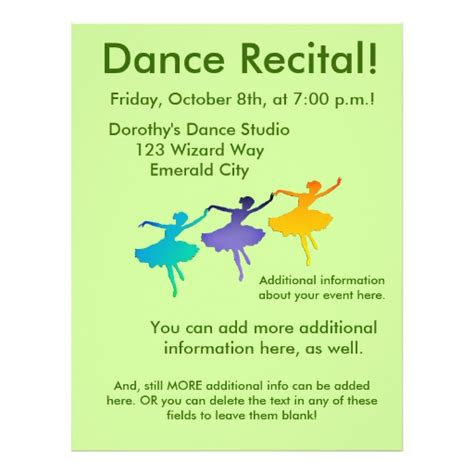 89 Recital Flyers Recital Flyer Templates And Printing Zazzle Recital Ad Templates