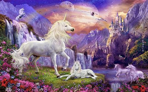 Fairy Princess Wall Mural fantasy wallpaper hd unicorns horse castles waterfalls