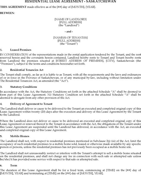 saskatchewan rental agreement template free residential lease agreement saskatchewan pdf