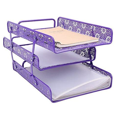 Purple Desk Organizers Awesome Crystallove Metal Hollow 3 Tier Document Tray Magazine Frame Paper Files Holder Of