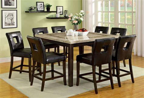 8 chair dining table set square marble top dining table 8 side chairs 9pc counter