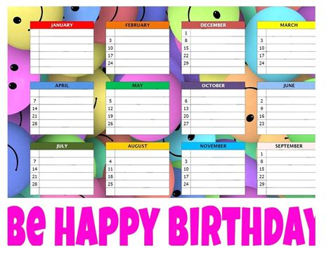 birthday chart template for classroom birthday chart template for classroom choice image