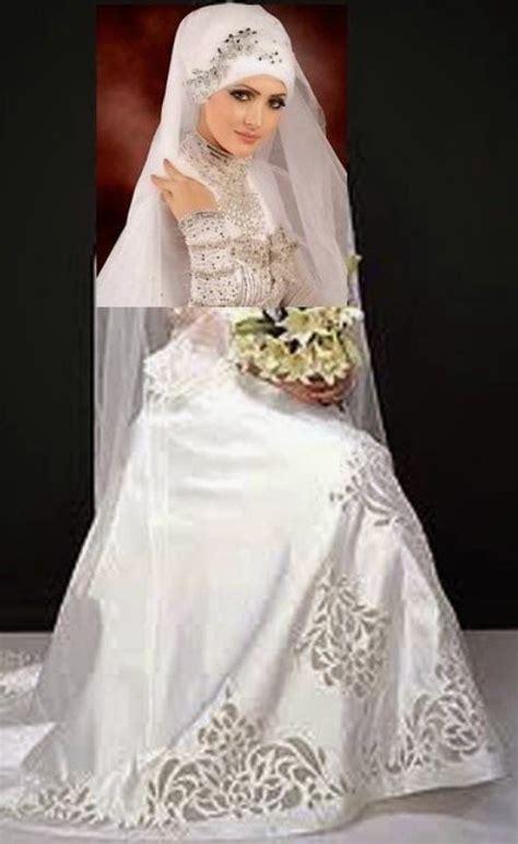 desain gambar dress gambar baju pengantin muslim modern putih elegan