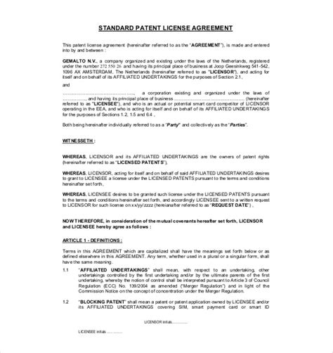 13 License Agreement Templates Free Sle Exle Format Download Free Premium Templates Patent License Agreement Template