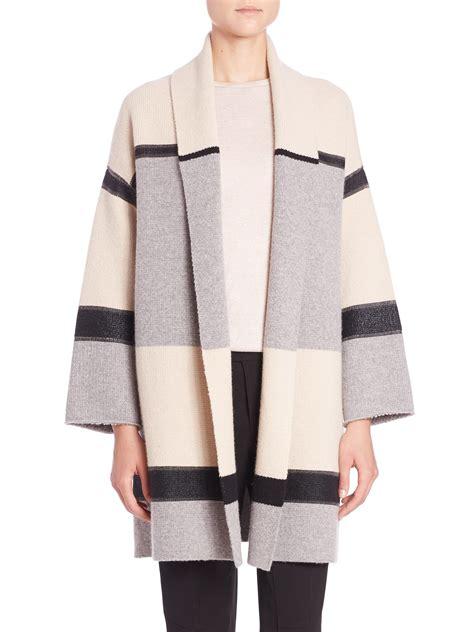 color block wool coat vince colorblock wool car coat in gray lyst