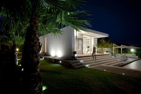 Kitchen Lighting Design evening lighting villa con piscina in catania italy by