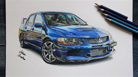 mitsubishi evo drawing mitsubishi evo 9 car drawing