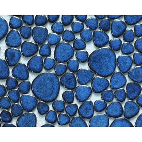 blue mosaic tile backsplash glazed porcelain tile mosaic pebble blue ceramic wall