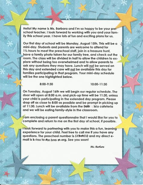 Kindergarten Parent Letter Template For The Children Preschool Time Welcoming Parents And Helping Them Feel Connected