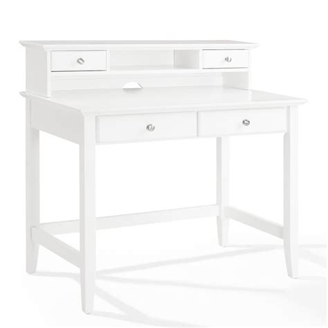 White Writing Desk With Hutch Crosley Cbell Writing Desk With Hutch In White Kf65004wh