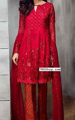 red chiffon suit buy iznik pakistani dresses