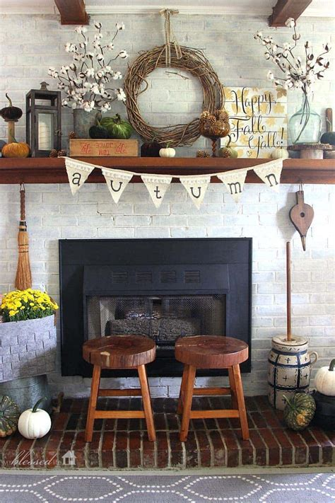 decor for fireplace 30 amazing fall decorating ideas for your fireplace mantel