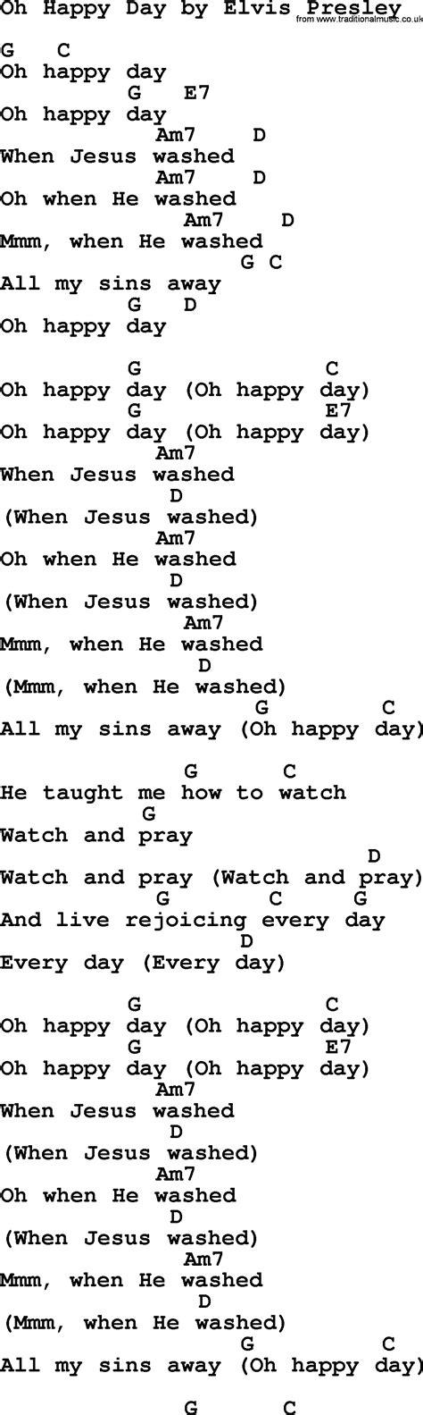 oh happy day testo oh happy day by elvis lyrics and chords