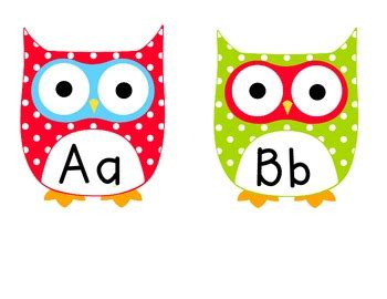 printable alphabet owl multi colored polka dot owl word wall letters by kalee