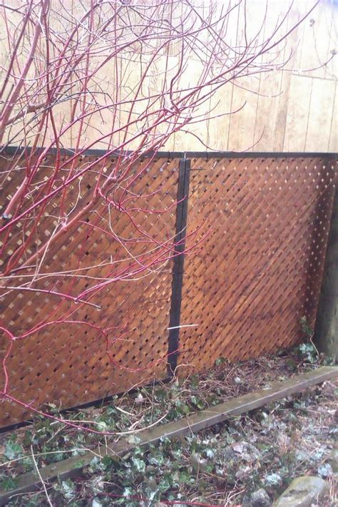 cover an ugly chain link fence with privacy lattice framed with aluminum j channel fits over