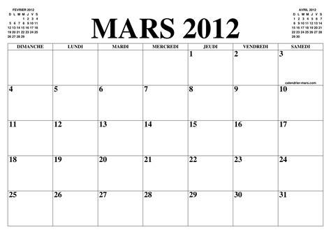 calendrier mars 2012 le calendrier du mois de mars