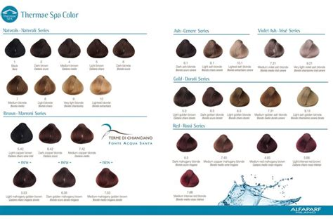 spa color alfaparf thermae spa color chart color charts