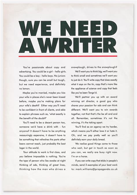 best copywriting ads probably the best ad for a copywriter in the world