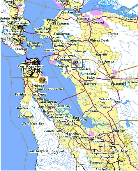 map of san francisco bay area map of the bay area california california map
