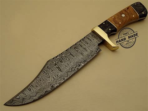 Handcrafted Knives - rambo damascus bowie knife custom handmade damascus steel