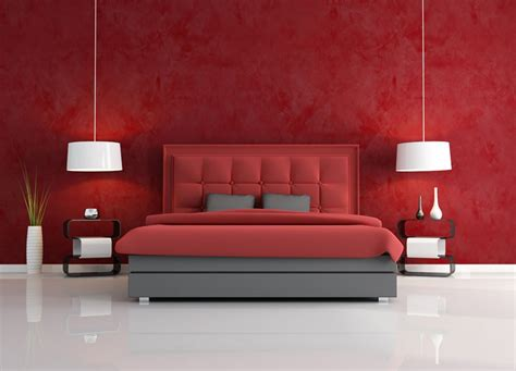 red walls bedroom living room interior design red wall sofa white lighting