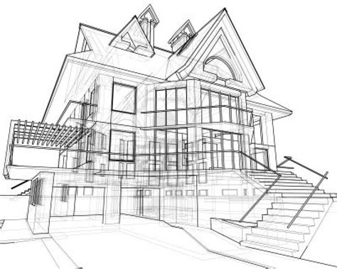 house drawings house technical draw stock photo landscape architecture