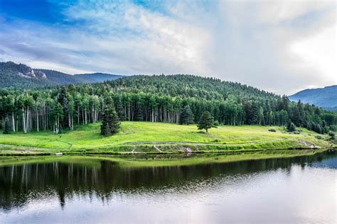 free stock photo of landscape of lake and hills in