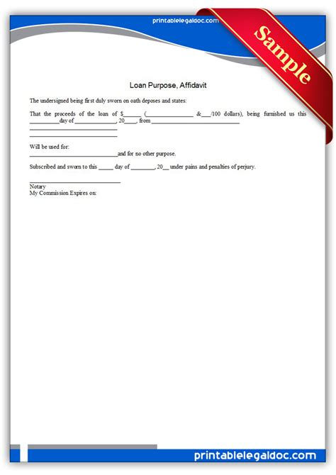 Loan Purpose Letter Free Printable Loan Purpose Affidavit Form Generic
