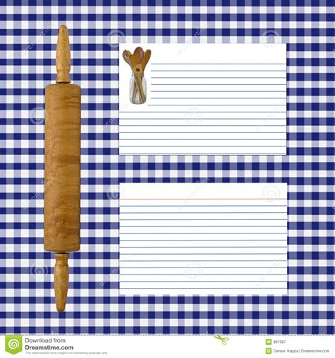 Kitchen Design Layout Tool blue gingham recipe page royalty free stock photography