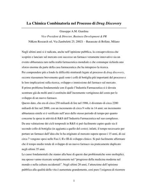 (PDF) La Chimica combinatoria nel processo di drug discovery