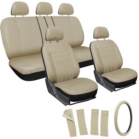 car seat covers for 17pc set solid all beige car seat covers steering wheel