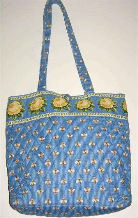 Quilted Purses Vera Bradley by Vera Bradley Handbag Bees Purse Tote Bag Quilted Blue