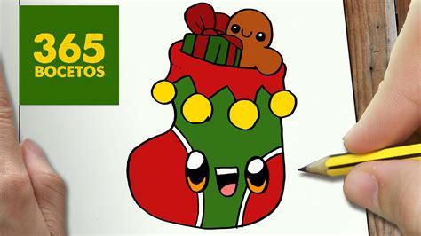 imagenes kawai de navidad como dibujar un calcetin para navidad paso a paso dibujos