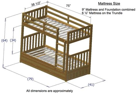 size bunk beds for discovery world furniture merlot mission